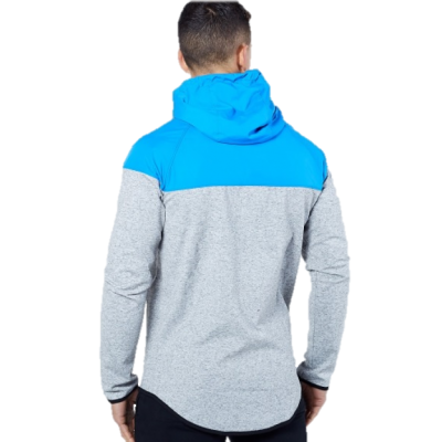 Electric Blue and Grey Hoodie Man